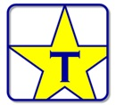 Transparify logo, blue T in a yellow star
